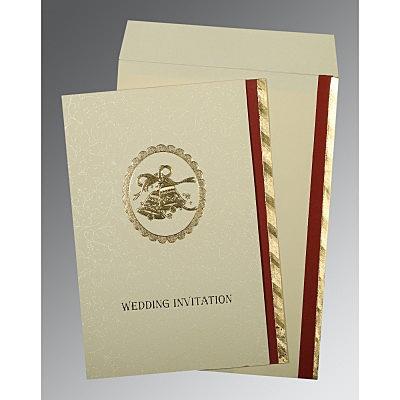 Ivory Matte Foil Stamped Wedding Card : C-0021 - 123WeddingCards