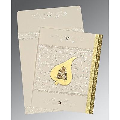 Ivory Matte Foil Stamped Wedding Invitations : G-1195 - 123WeddingCards