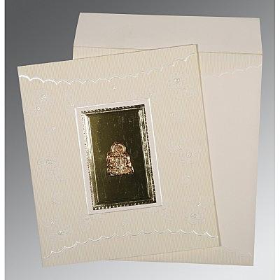 Ivory Matte Foil Stamped Wedding Invitation : G-1437 - 123WeddingCards