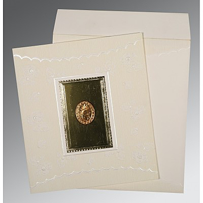 Ivory Matte Foil Stamped Wedding Invitation : RU-1437 - 123WeddingCards