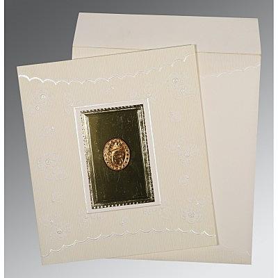 Ivory Matte Foil Stamped Wedding Invitation : S-1437 - 123WeddingCards