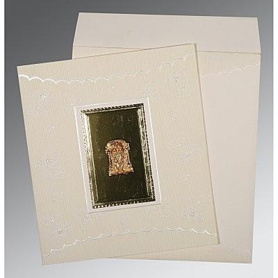Ivory Matte Foil Stamped Wedding Invitations : SO-1437 - 123WeddingCards