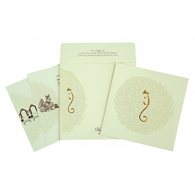 Ivory Matte Foil Stamped Wedding Invitations : W-2297 - 123WeddingCards