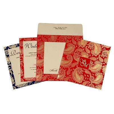 Ivory Matte Paisley Themed - Screen Printed Wedding Invitation : SO-1698 - 123WeddingCards