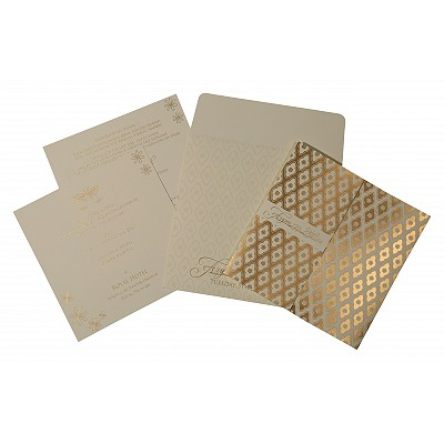 Ivory Matte Screen Printed Wedding Invitations : D-8263A - 123WeddingCards