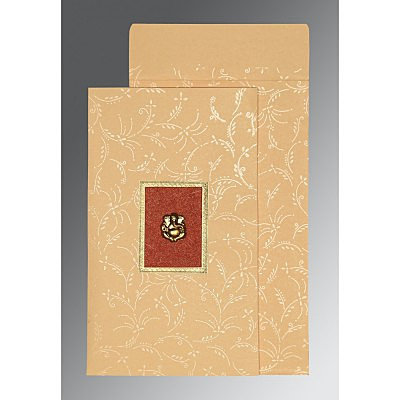 BEIGE MATTE SCREEN PRINTED WEDDING CARD : IN-1303 - 123WeddingCards
