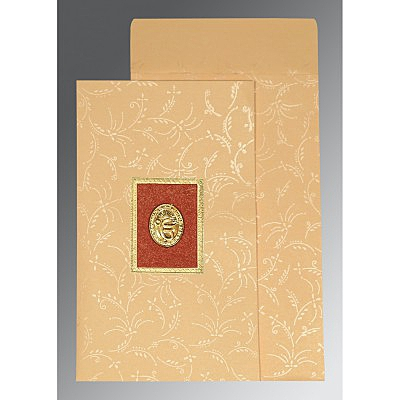Ivory Matte Screen Printed Wedding Card : RU-1303 - 123WeddingCards