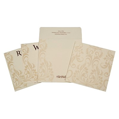 Ivory Matte Screen Printed Wedding Card : W-1739 - 123WeddingCards