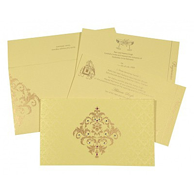 Ivory Shimmery Damask Themed - Screen Printed Wedding Card : RU-8257B - 123WeddingCards