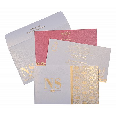 Ivory Shimmery Damask Themed - Screen Printed Wedding Invitation : W-8261F - 123WeddingCards