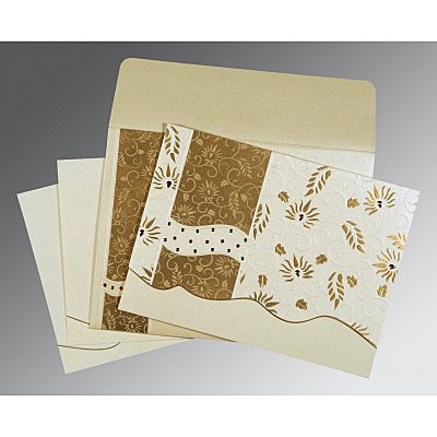 Ivory Shimmery Floral Themed - Embossed Wedding Invitations : D-8236B - 123WeddingCards