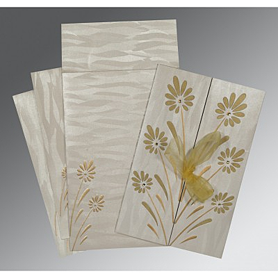 Ivory Shimmery Floral Themed - Embossed Wedding Card : I-1372 - 123WeddingCards