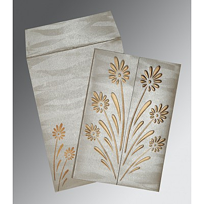 Ivory Shimmery Floral Themed - Embossed Wedding Card : RU-1378 - 123WeddingCards