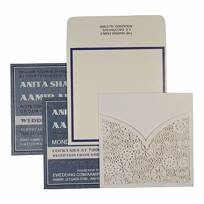 WHITE SHIMMERY FLORAL THEMED - LASER CUT WEDDING INVITATION : RU-1593 - 123WeddingCards