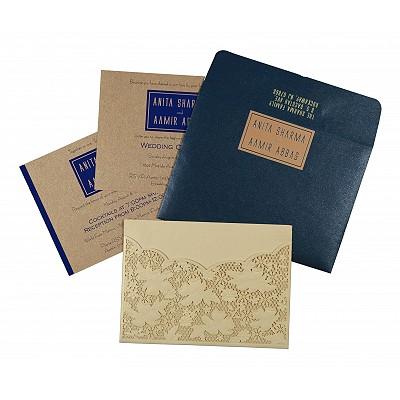 Ivory Shimmery Floral Themed - Laser Cut Wedding Card : W-1586 - 123WeddingCards