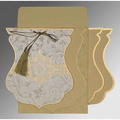 Ivory Shimmery Floral Themed - Screen Printed Wedding Card : RU-8229E - 123WeddingCards