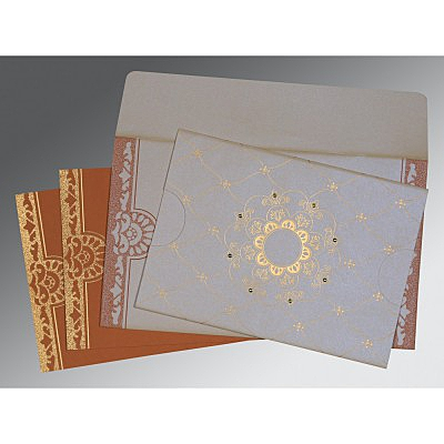 Ivory Shimmery Floral Themed - Screen Printed Wedding Card : W-8227L - 123WeddingCards