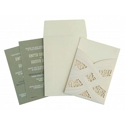 Ivory Shimmery Laser Cut Wedding Card : D-1590 - 123WeddingCards