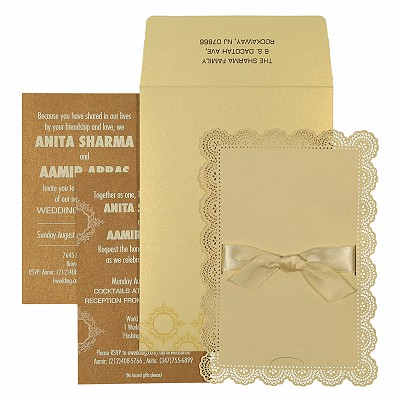 Ivory Shimmery Laser Cut Wedding Invitation : I-1588 - 123WeddingCards