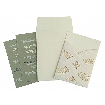 Ivory Shimmery Laser Cut Wedding Card : I-1590 - 123WeddingCards