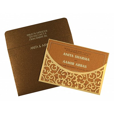 CREAM SHIMMERY LASER CUT WEDDING CARD : RU-1587 - 123WeddingCards