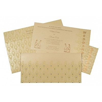 Ivory Shimmery Peacock Themed - Screen Printed Wedding Invitations : D-8256B - 123WeddingCards