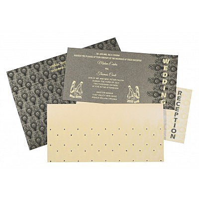 Ivory Shimmery Peacock Themed - Screen Printed Wedding Invitations : D-8256D - 123WeddingCards