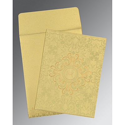 Ivory Shimmery Screen Printed Wedding Card : C-8244J - 123WeddingCards