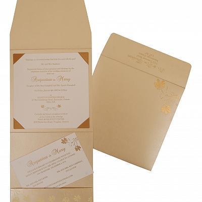 Ivory Shimmery Screen Printed Wedding Invitation : RU-803E - 123WeddingCards
