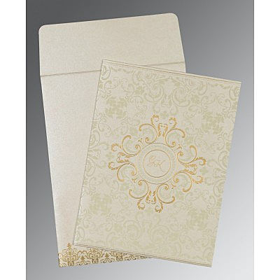 Ivory Shimmery Screen Printed Wedding Card : RU-8244B - 123WeddingCards