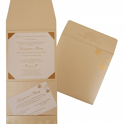 Ivory Shimmery Screen Printed Wedding Invitation : W-803E - 123WeddingCards