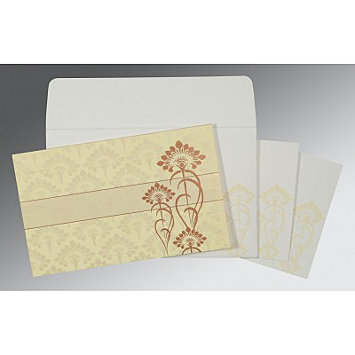 Ivory Shimmery Screen Printed Wedding Card : W-8239I - 123WeddingCards