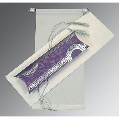 Ivory Velvet Wedding Card : SC-5010C - 123WeddingCards