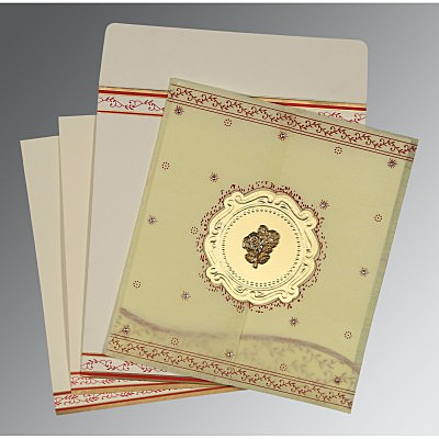 Ivory Wooly Embossed Wedding Invitation : C-8202E - 123WeddingCards