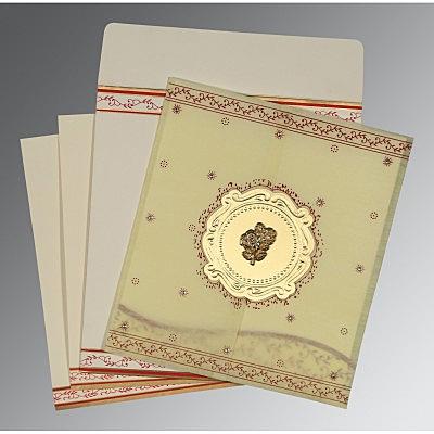 Ivory Wooly Embossed Wedding Invitations : C-8202E - 123WeddingCards