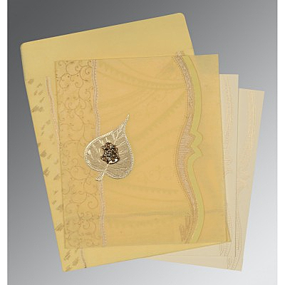 Ivory Wooly Embossed Wedding Card : C-8210G - 123WeddingCards