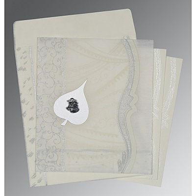 Ivory Wooly Embossed Wedding Card : C-8210J - 123WeddingCards
