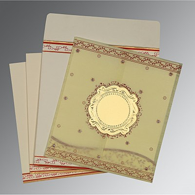 Ivory Wooly Embossed Wedding Invitation : D-8202E - 123WeddingCards