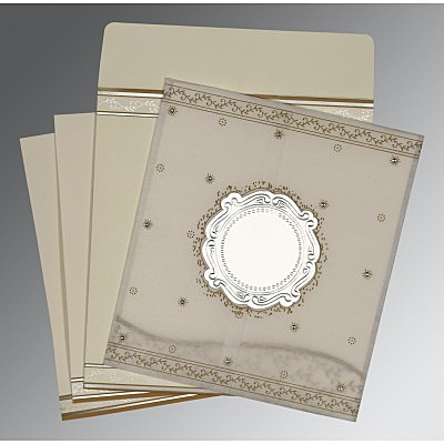 Ivory Wooly Embossed Wedding Invitation : D-8202O - 123WeddingCards