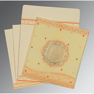 Ivory Wooly Embossed Wedding Invitation : D-8202R - 123WeddingCards