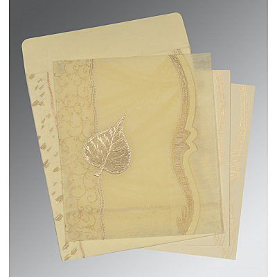 Ivory Wooly Embossed Wedding Card : D-8210C - 123WeddingCards