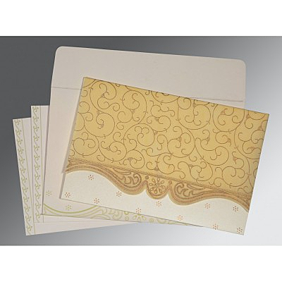 Ivory Wooly Embossed Wedding Invitation : D-8221K - 123WeddingCards