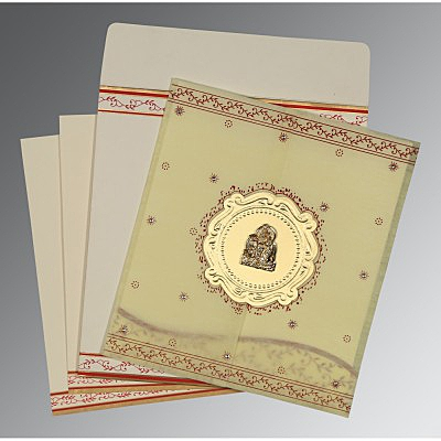 Ivory Wooly Embossed Wedding Invitation : G-8202E - 123WeddingCards