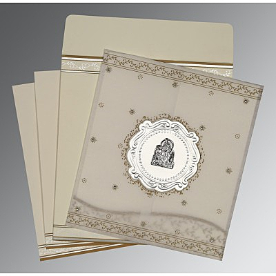 Ivory Wooly Embossed Wedding Invitations : G-8202O - 123WeddingCards