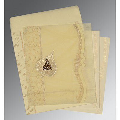 Ivory Wooly Embossed Wedding Card : G-8210C - 123WeddingCards