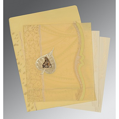 Ivory Wooly Embossed Wedding Card : G-8210G - 123WeddingCards