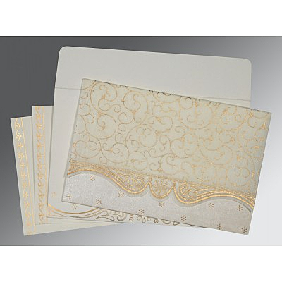 Ivory Wooly Embossed Wedding Invitation : G-8221I - 123WeddingCards