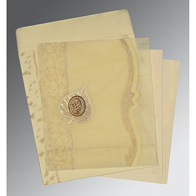 Ivory Wooly Embossed Wedding Card : I-8210C - 123WeddingCards