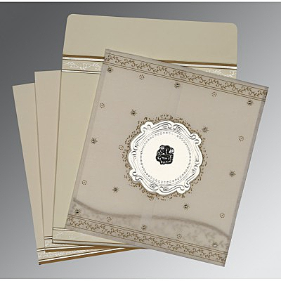 Ivory Wooly Embossed Wedding Invitations : IN-8202O - 123WeddingCards