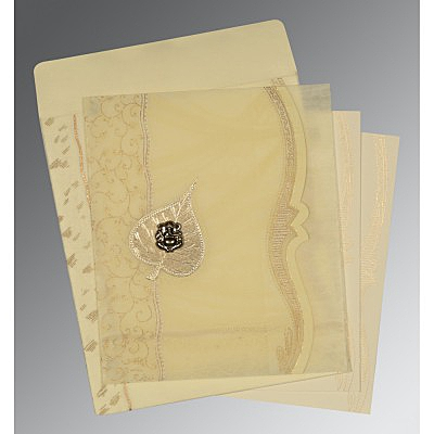 BEIGE SHIMMERY EMBOSSED WEDDING CARD : IN-8210C - 123WeddingCards